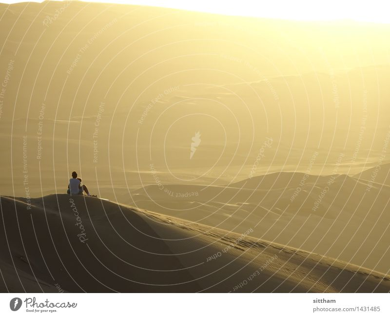 Sonnenuntergang in Huacachina, Peru Mensch Ferien & Urlaub & Reisen Erholung Landschaft Ferne gelb Wärme Glück Denken Freiheit Sand Horizont träumen gold sitzen