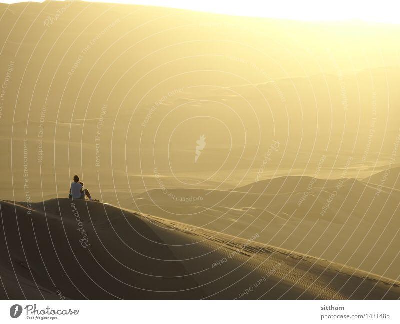 Sonnenuntergang in Huacachina, Peru Ferien & Urlaub & Reisen Ferne Freiheit Mensch Landschaft Sand Sonnenaufgang Wärme Wüste Denken Erholung genießen Blick