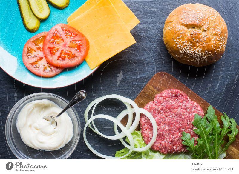Burger-Baukasten Lebensmittel frisch Ernährung Küche Gemüse lecker Fleisch Fett Tomate Mittagessen Salatbeilage Brötchen Käse Amerikaner Zutaten