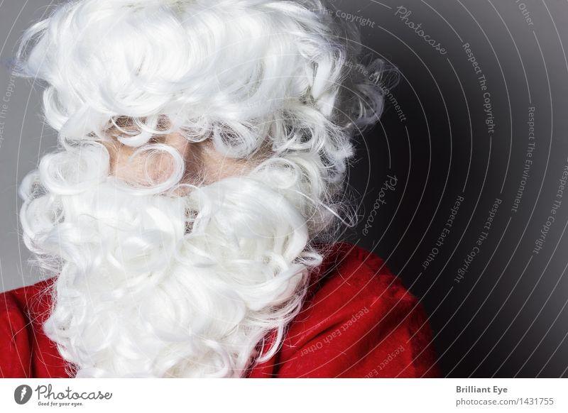 Weihnachtlich behaart Winter Feste & Feiern Weihnachten & Advent Mensch maskulin Haare & Frisuren Bart 1 Vollbart Blick stehen alt Sauberkeit wild weiß Gefühle