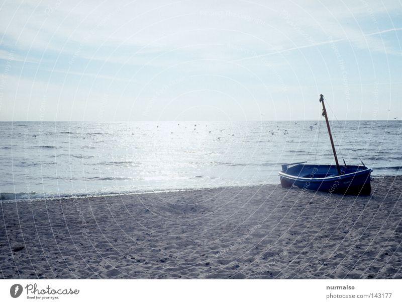 voll Langweilig Strand Wasserfahrzeug Ostsee See Meer Fischerboot polnisch Polen Gdánsk Bucht Horizont Ferien & Urlaub & Reisen Reisefotografie Mast Kahn