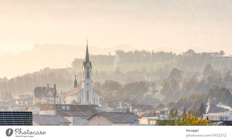 Nottwil Umwelt Natur Hügel Alpen Berge u. Gebirge Kanton Luzern Dorf Kleinstadt Stadtzentrum Altstadt bevölkert Haus Kirche Bauwerk Gebäude Architektur Dach