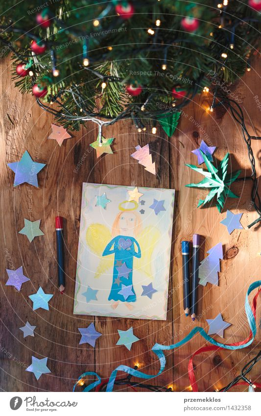 Weihnachten & Advent Baum Holz Dekoration & Verzierung Aussicht Tisch Kreativität Papier Grafik u. Illustration Postkarte Engel Top Bleistift Glitter Ornament Schere