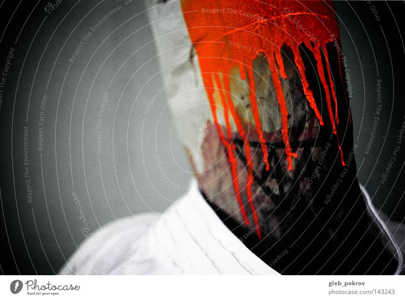 Mann Farbe dunkel Kopf Farbstoff Orange Angst Hintergrundbild gefährlich Bekleidung Maske Müll Medien Panik sozial Schraube