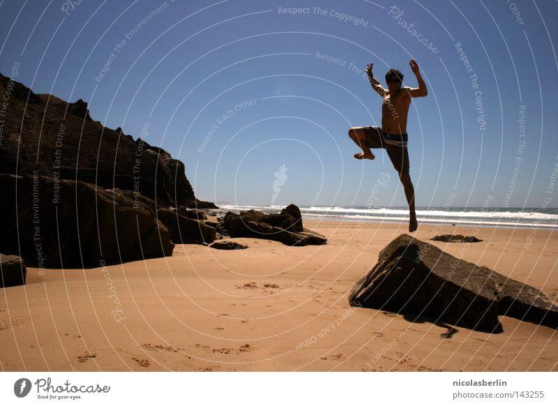 the Gap between Thinking and Feeling Strand Meer Mann schwarz Erholung Körperhaltung Aktion Statue Portugal Alentejo springen Erfolg seaside Sand Himmel boy
