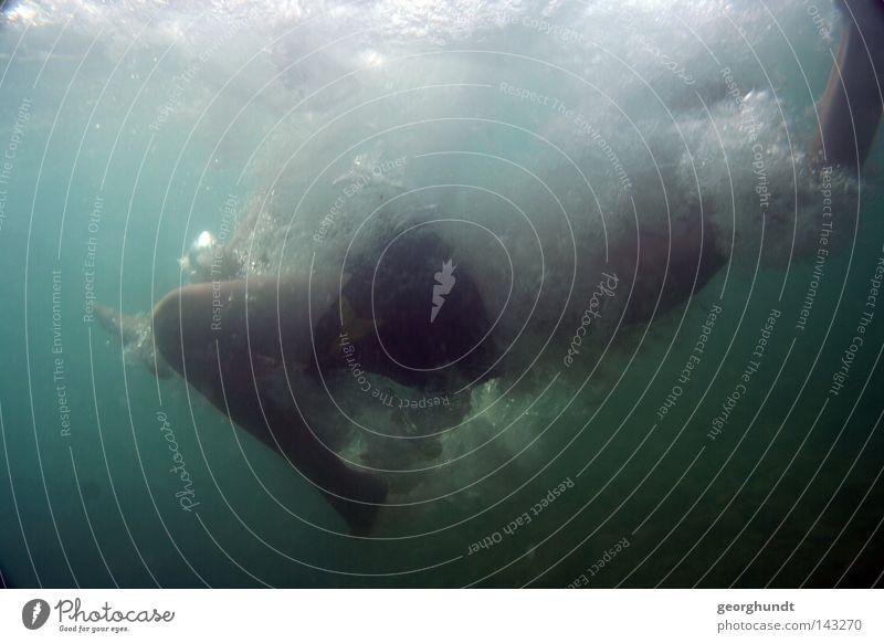 underwaterjumping II Wasser Unterwasseraufnahme tauchen Schwimmen & Baden Schweben Schnorcheln Taucher Schnorchler Meer Mittelmeer Italien See springen