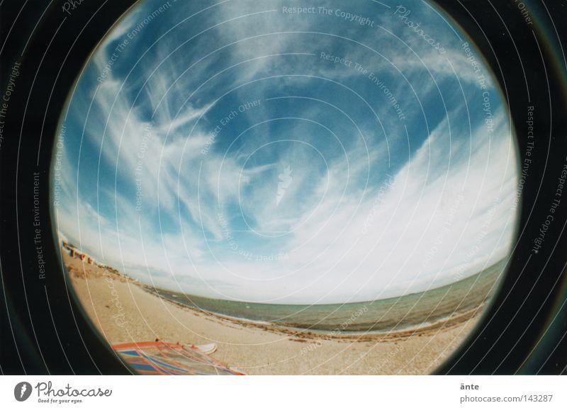 blau machen Lomografie Fischauge rund Meer Ferien & Urlaub & Reisen Cirrus Sandstrand Strand Physik Unendlichkeit Küste Lomography Fisheye 2 Verzerrung Himmel