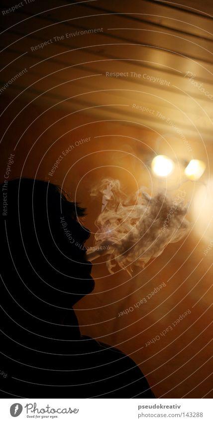 Jacques - end up in smoke Rauch Rauchen Tabakwaren Schatten Silhouette Wasserpfeife blasen Licht atmen schädlich Mann Mensch Nebel Geruch brennen Alkoholisiert