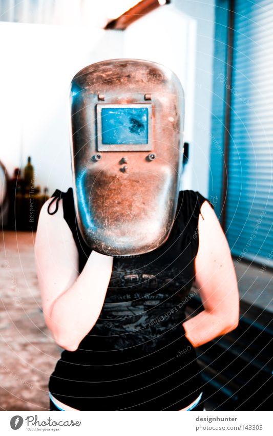 NM 1.0 Frau blau weiß schwarz Farbe Stil Industrie Technik & Technologie Maske Lagerhalle Maschine sehr wenige Elektrisches Gerät Schweißgerät