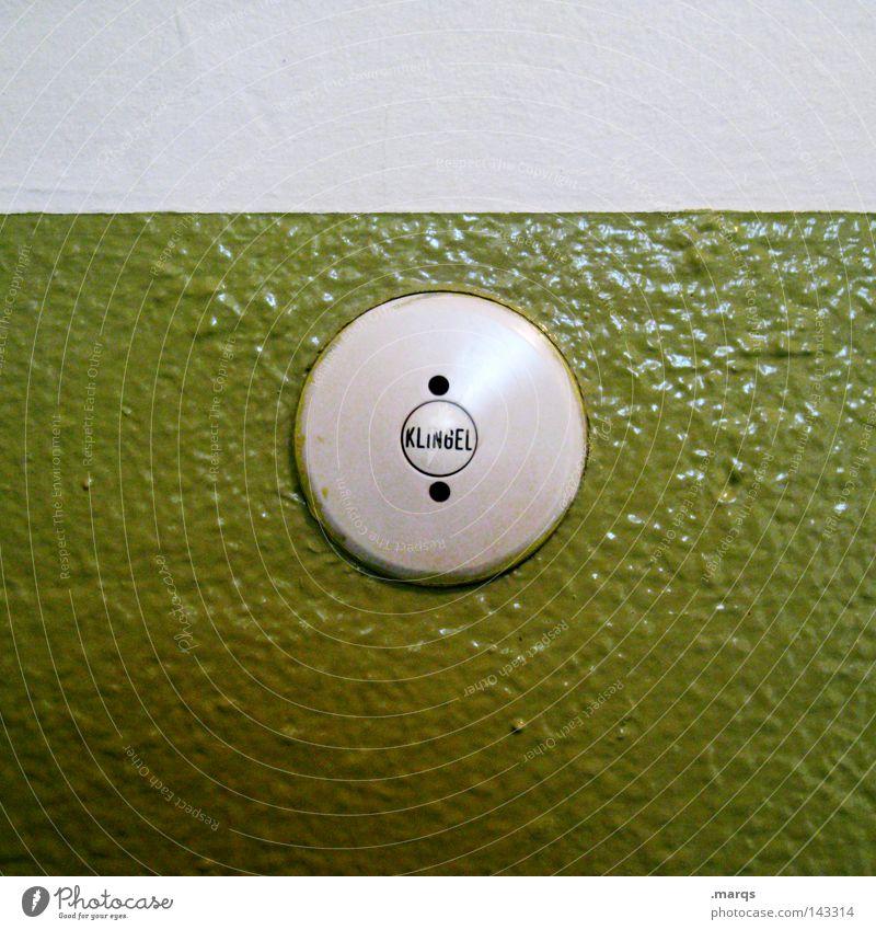 Bimmel grün Gong Knöpfe Glocke Türöffner drücken fordern verrückt nerven nervig anmelden Schriftzeichen Häusliches Leben Wohnung signalisieren kommen Ankunft