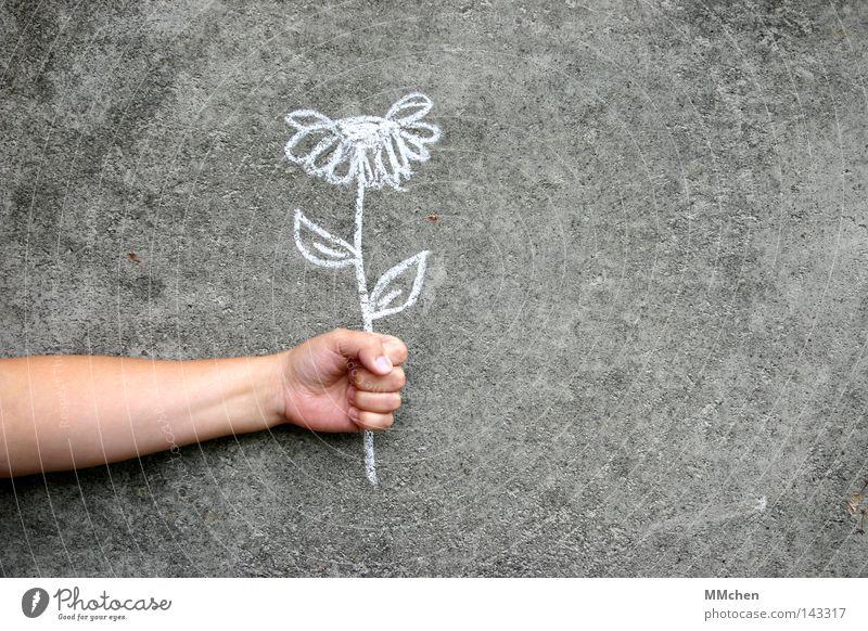 Mauerblümchen weiß Hand Blume Freude Jubiläum Wand grau Glück Arme Geburtstag Beton Finger Geschenk Wunsch festhalten Gemälde