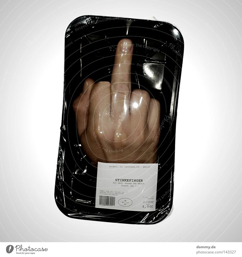 ach, fick dich! Finger Hand Gelenk Nagel Baseballmütze Daumen Zeigefinger Ringfinger klein Mittelfinger rechts verpackt steril Folie schwarz frisch Lebensmittel