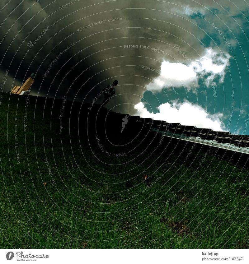 pods-blitz Mensch Himmel Wolken Wiese Berlin Berge u. Gebirge Gras Regen Wetter gehen laufen wandern Hochhaus verrückt Laufsport Perspektive