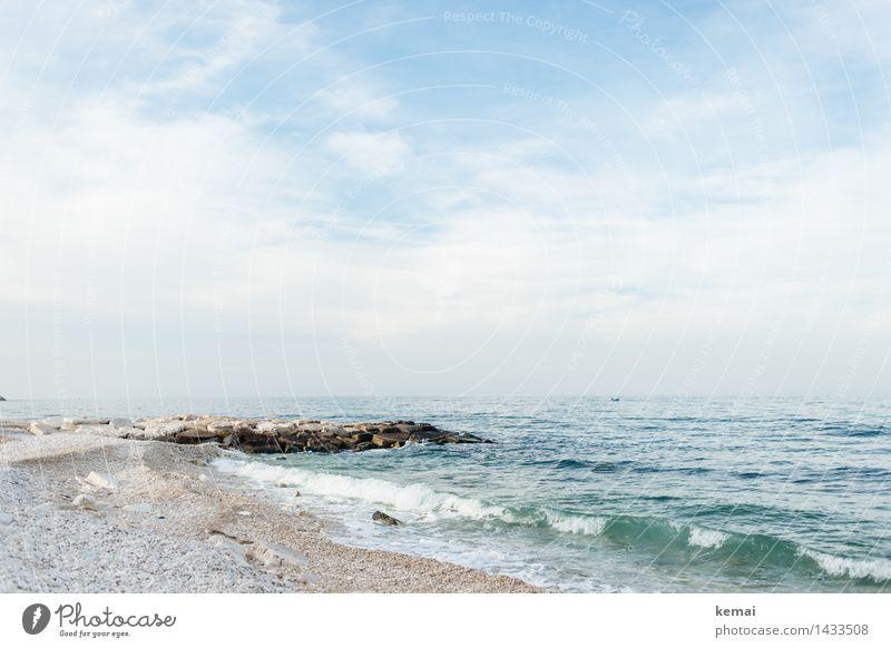 White pebbled beach Himmel Natur Ferien & Urlaub & Reisen blau grün schön Sommer Wasser weiß Meer Landschaft Wolken ruhig Strand Ferne Umwelt