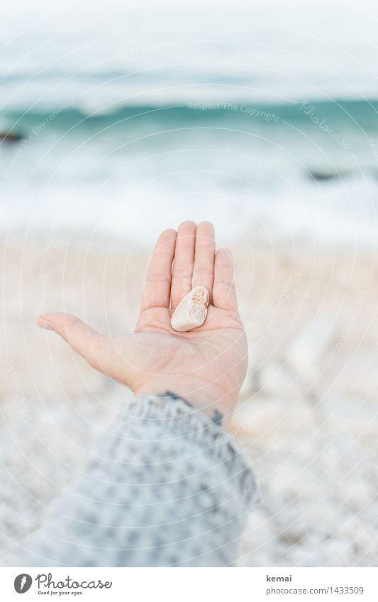 ...since I have nothing else to give. Mensch Natur schön Wasser Meer Hand ruhig Strand Umwelt klein Stein hell frisch Wellen ästhetisch Geschenk