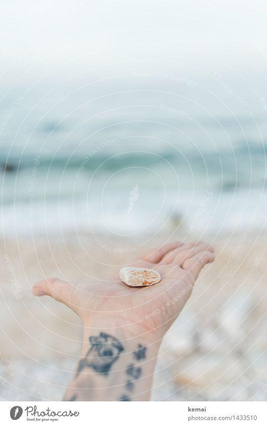 I am offering... Lifestyle Ferien & Urlaub & Reisen Strand Meer Wellen Hand Finger Handfläche 1 Mensch Tattoo Umwelt Natur Sonnenlicht Schönes Wetter Souvenir