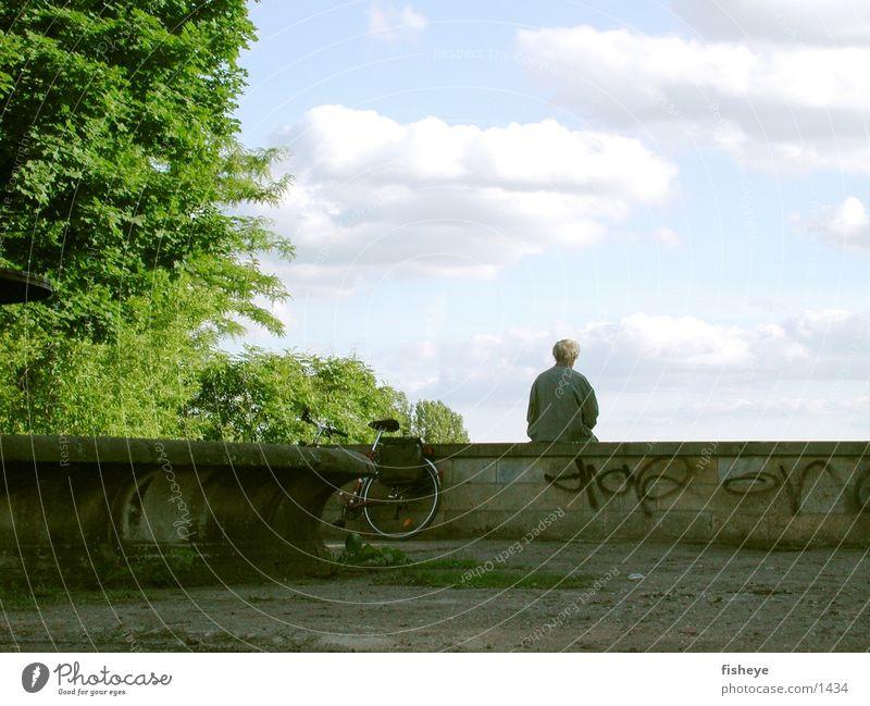 Auf der Mauer Mann Brunnen Baum Fahrrad Mensch sitzen Himmel Einsamkeit einzeln 1 Ein Mann allein Hintergrund neutral Vor hellem Hintergrund Pause Erholung