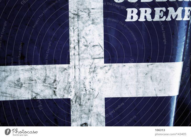 white cross dünn blau Christliches Kreuz Rücken Abdeckung Bremen Industrie weiß Schutz Schriftzeichen Typographie Buchstaben Deutschland alt schäbig