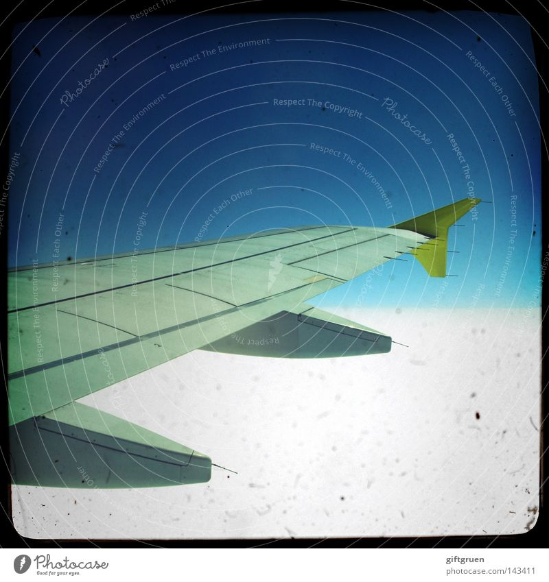 sky-high Himmel Ferien & Urlaub & Reisen Flugzeug Beginn hoch Ausflug Luftverkehr Technik & Technologie Niveau Tragfläche Flughafen Flugzeuglandung Schweben