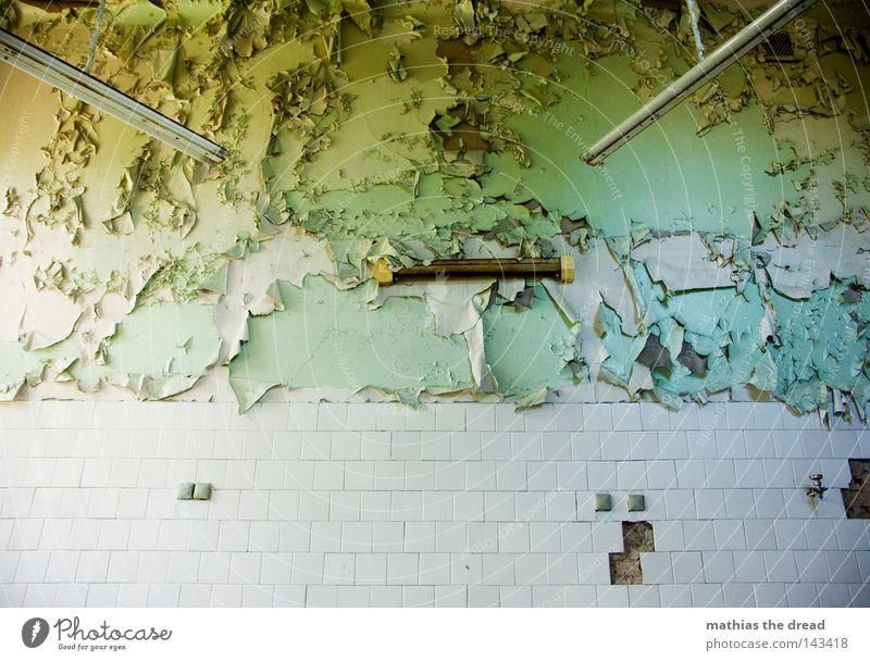 IT'S JUST A ROOM Haus Fenster Fensterladen Eingang Raum Örtlichkeit Flur Wege & Pfade Putz Farbe Farbstoff Farben und Lacke Heilstätte Ruine verfallen gehen