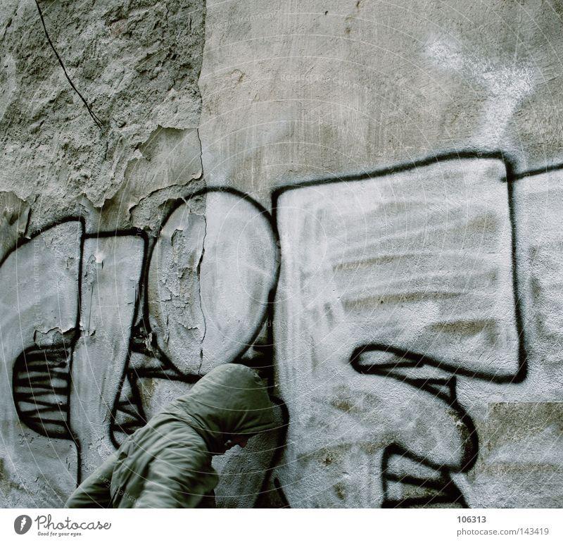 END of DAYs Kopf Ende Misserfolg resignieren Aufgabe Graffiti Tag Wand Mensch Verzweiflung schließen gegen oben anlehnen Pause Erholung fertig Energie Schwäche