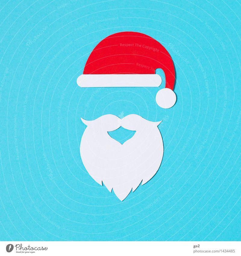 Weihnachtsmann Basteln Karneval Weihnachten & Advent Mütze Nikolausmütze Bart Vollbart ästhetisch blau rot weiß Vorfreude Farbfoto Innenaufnahme Studioaufnahme