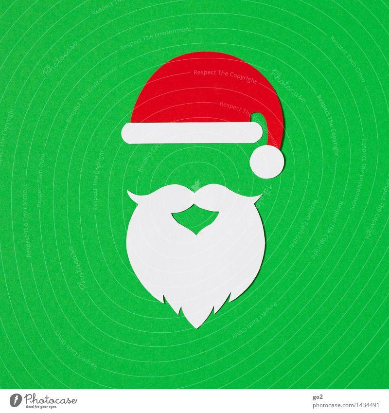 Ho Ho Ho Basteln Weihnachten & Advent Mütze Nikolausmütze Bart Vollbart Papier ästhetisch grün rot weiß Vorfreude Farbfoto Innenaufnahme Studioaufnahme