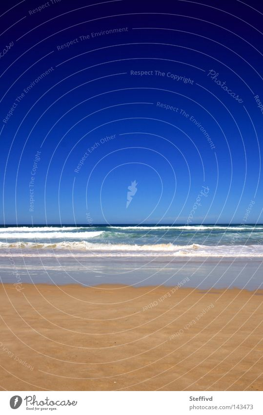 Tiefblau Himmel Ferien & Urlaub & Reisen Meer Sommer Strand Ferne Sand Horizont Wellen Fernweh Portugal