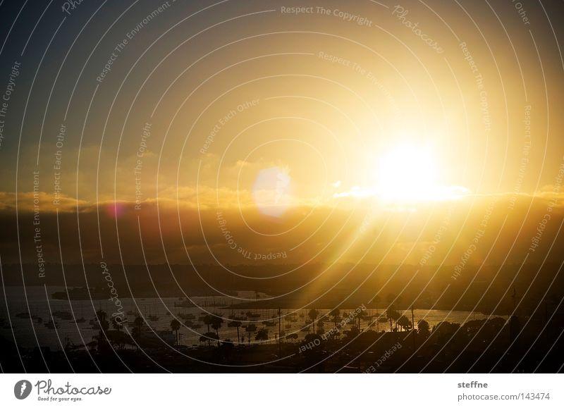 SUN, SET and MATCH San Diego Kalifornien USA Hafen Bucht Amerika Sonne Sonnenuntergang Romantik Kitsch Gegenlicht Licht Feuerball Sonnenstrahlen Sommer heiß