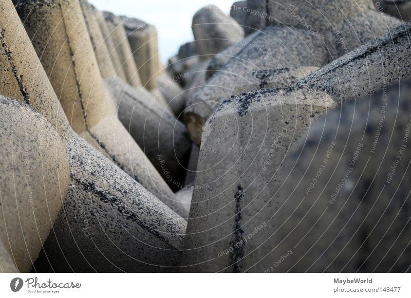 Strandbefestigung Meer Stein Beton Geometrie Nordsee Sylt Befestigung