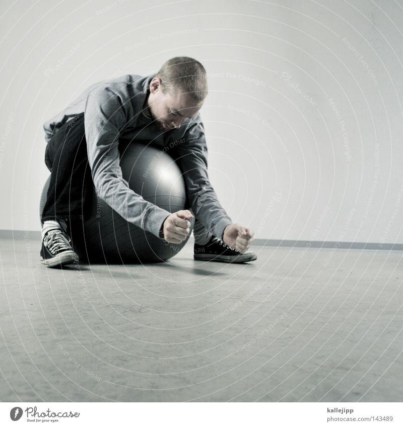 flop Mensch Mann weiß Freude schwarz Spielen grau Bewegung springen Luft Raum Freizeit & Hobby Aktion rund Ball Kugel