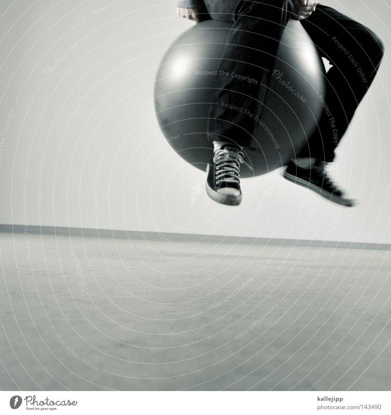 hop Mensch Mann weiß Freude schwarz Spielen grau Bewegung springen Luft Gesundheit Raum Freizeit & Hobby Aktion rund Ball