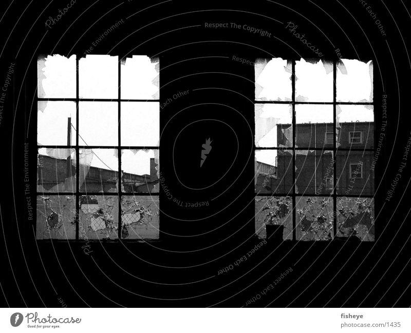 Zwei Fenster Gitter gebrochen Ruine Scherbe historisch Glas Schwarzweißfoto
