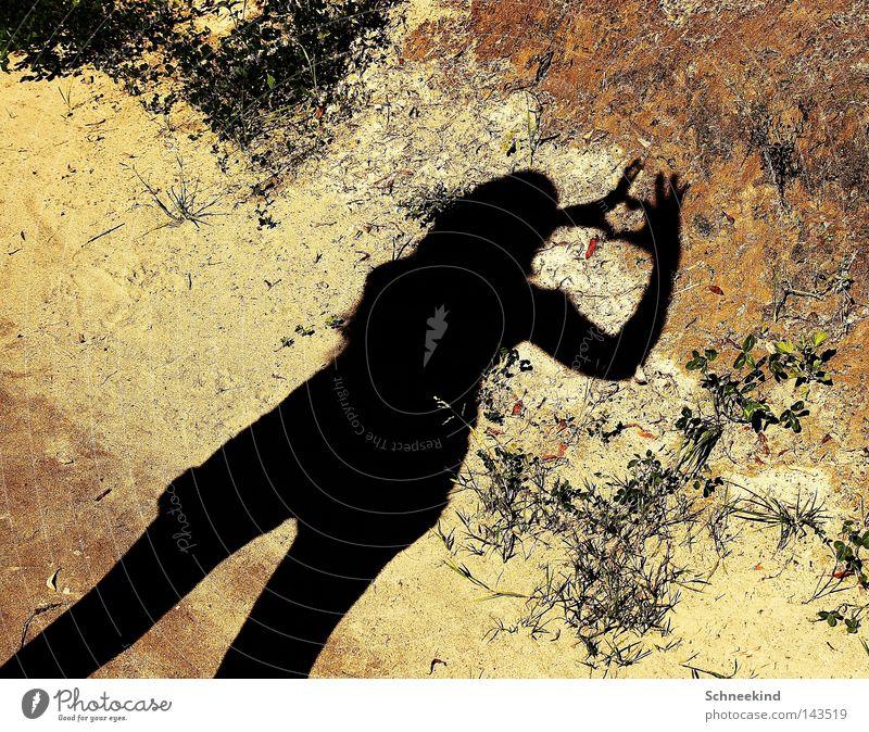 HERZ allerliebst Schatten Sommer Sand Herz Frau Liebe schön Schattenspiel herzförmig Umrisslinie Silhouette Verliebtheit Zuneigung Erde Boden Sonnenlicht