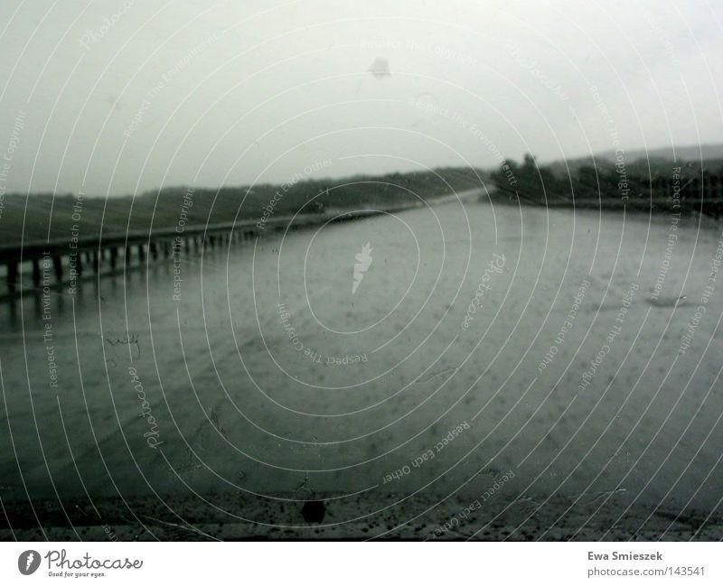Die Autobahn, die nach Hause führt dunkel nass Regen lautstark fahren Sehnsucht Außenaufnahme Ferne Verkehrswege Brücke Wassertropfen Straße Fluss Überflütet