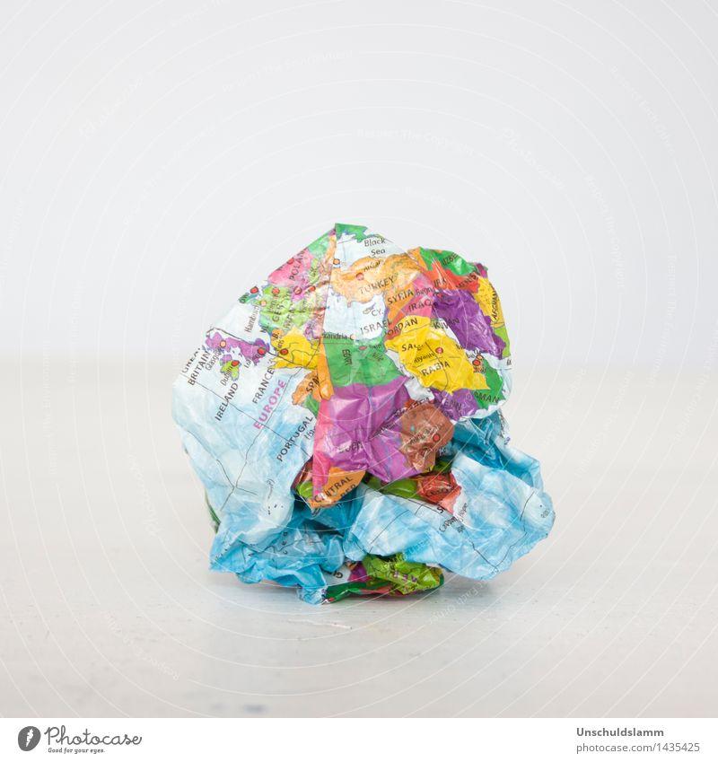 Schöne neue Welt Umwelt Europa Afrika Naher und Mittlerer Osten Kontinente Papier Erde Globus hell kaputt mehrfarbig Stimmung Verantwortung Zukunftsangst Wut