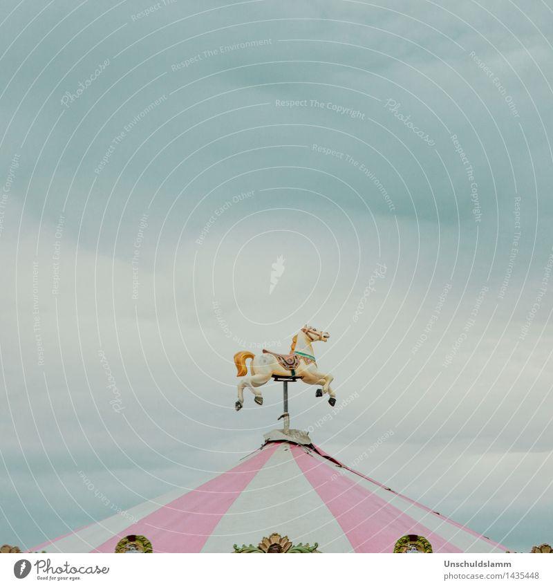 Es dreht sich nur für Dich Lifestyle Stil Freizeit & Hobby Jahrmarkt Himmel Wolken Gewitterwolken Unwetter Pferd Dekoration & Verzierung Karussell