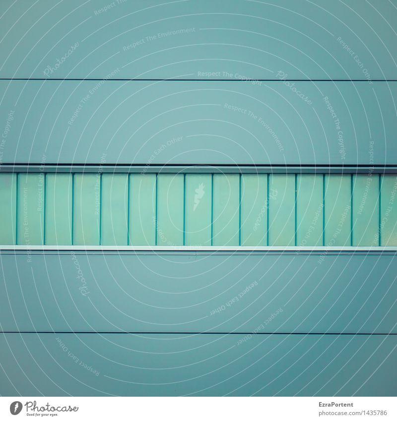 --||||-- Haus Industrieanlage Fabrik Bauwerk Gebäude Architektur Mauer Wand Fassade Fenster Glas Metall Linie Streifen ästhetisch kalt blau Design rein