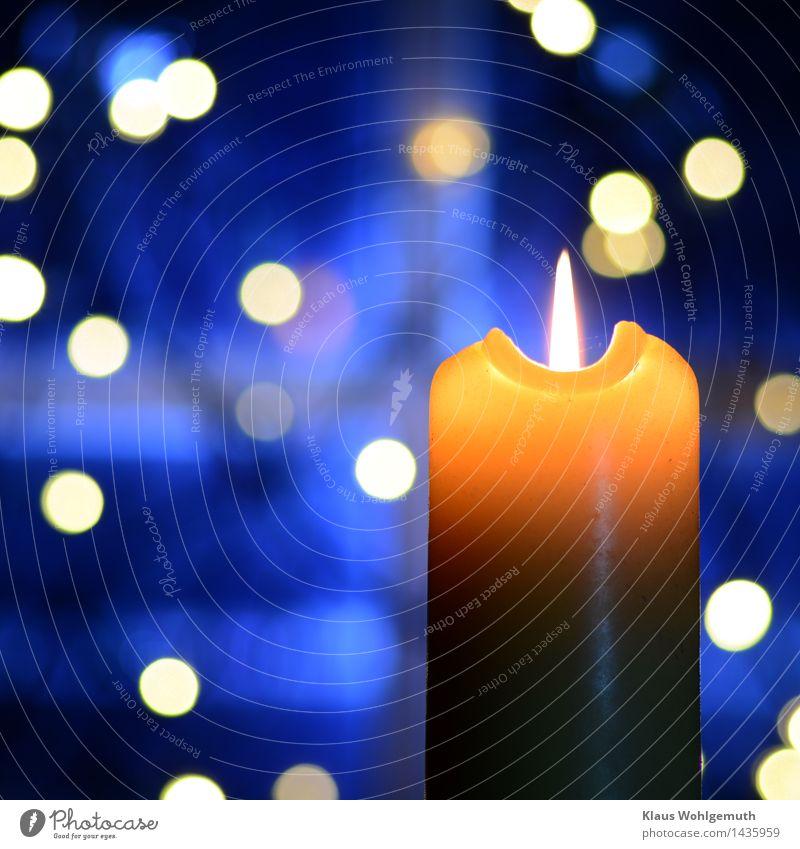 Winterabend harmonisch Erholung Meditation Weihnachten & Advent leuchten Freundlichkeit blau gelb Romantik Kerze Flamme besinnlich Innenaufnahme Nahaufnahme