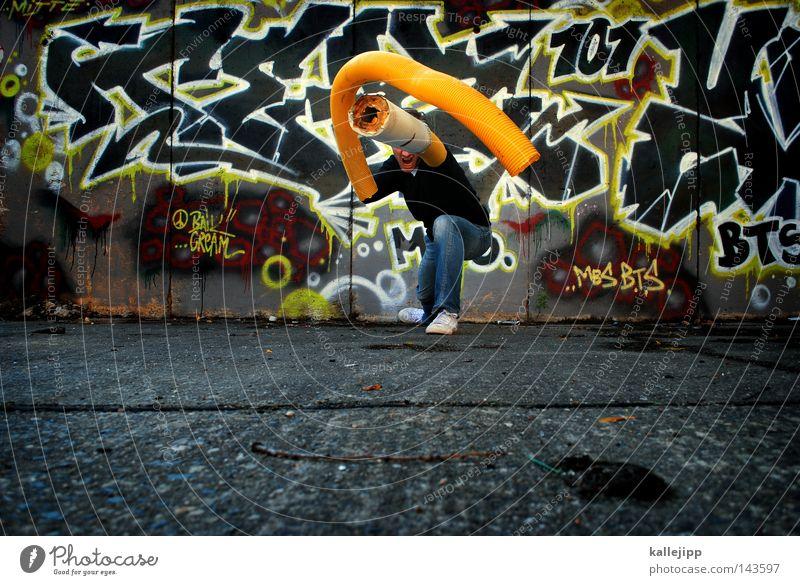 in the arm-y Mensch Mann Hand Stadt gelb Graffiti Wand Stil Wildtier Arme Beton verrückt Zukunft Gleise Schmerz Gewalt
