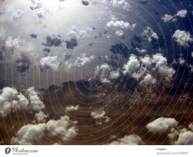Küste Wasser Himmel Strand Wolken Küste groß Insel Amerika Mittelmeer Wolkenschatten