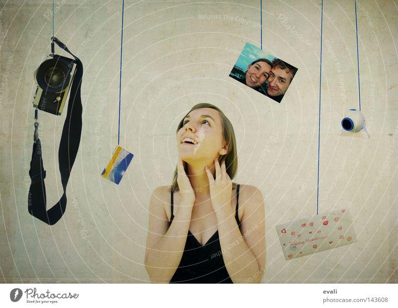 Surrounded by memories Porträt Fotografie Brief Fotokamera grinsen analog Frau camera letter Webcam happy in love lachen Glück Reflexion & Spiegelung Skikarte