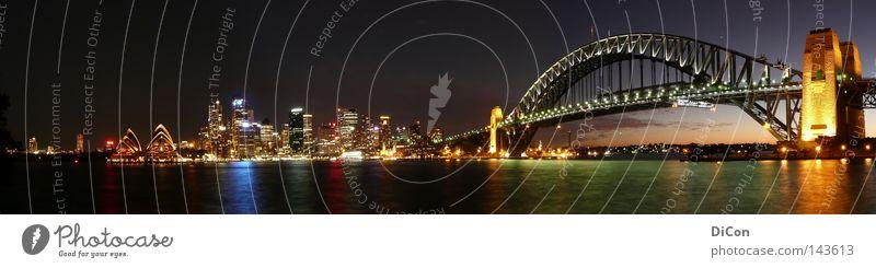 Sydney Wasser Himmel Stadt Ferien & Urlaub & Reisen Lampe dunkel Freiheit Kunst glänzend groß Brücke Tourismus Nacht Hafen fantastisch Sehnsucht