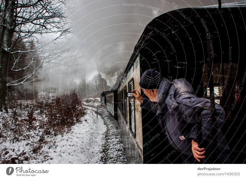 Schneeexpress Rasender Roland *1.100* Natur Ferien & Urlaub & Reisen Mann Landschaft Winter Umwelt Senior Schneefall maskulin Tourismus Verkehr 60 und älter