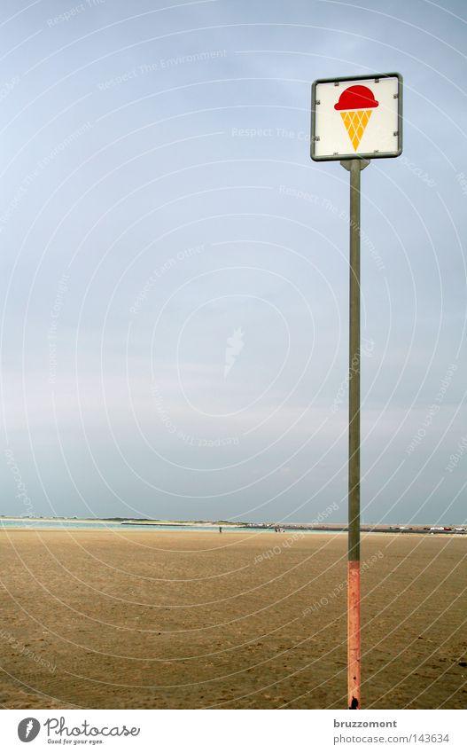 Die Eisdiele am Rande des Universums Speiseeis Sommer Strand Schilder & Markierungen Eisverkäufer Symbole & Metaphern Ebbe Himmel Sand Nordsee Niederlande