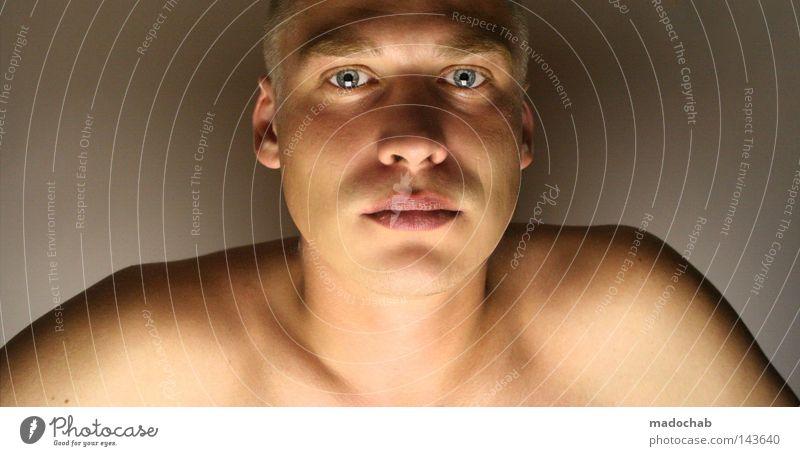 Portrait junger Mann Blickkontakt Hintergrund neutral Porträt Oberkörper Blick in die Kamera Blick nach vorn Gesicht Mensch maskulin Junger Mann Jugendliche