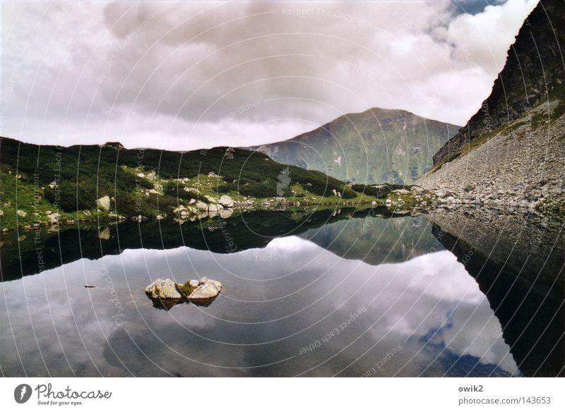 Bergsee Himmel Pflanze Wasser Landschaft Wolken kalt Berge u. Gebirge Wand See Stein oben Horizont Wetter Luft groß hoch