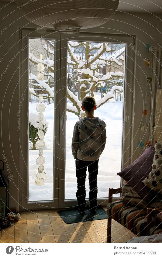 Schnee Mensch Kind Baum Haus Winter Fenster kalt Junge Garten Lampe hell Schneefall maskulin Kindheit stehen