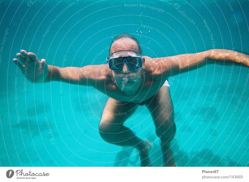 Luftikus Mann Wasser Meer Freude Angst tauchen Panik Karibisches Meer Atlantik Schnorcheln