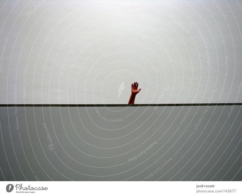 Handspiel Mensch Hand Wand Mauer grau oben Linie Stimmung Arme modern einzeln Finger einfach einzigartig Streifen Zeichen
